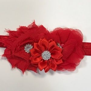Other - Red fabric three flower headband